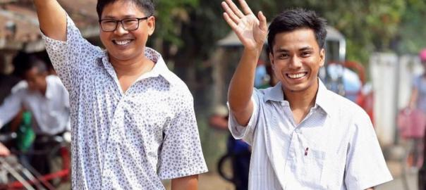 Picture of Reuters journalists Wa Lone and Kyaw Soe as they finally walk free from Myanmar prison[PHOTO CREDIT:BBCnews]