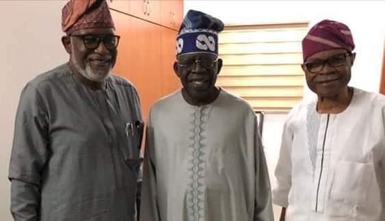 Akeredolu with APC leader Tinubu and Akinyelure after a meeting