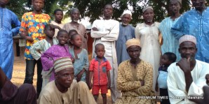 residents of Hara community listening to their village head narrating the community problems