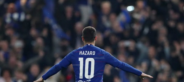 Eden Hazard celebrating after scoring the winning penalty for Chelsea (Photo Credit: Reuters on Google)