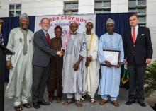 Imam Abdullahi's Award from U.S. Ambassador. (Photo credit: US Embassy Abuja)