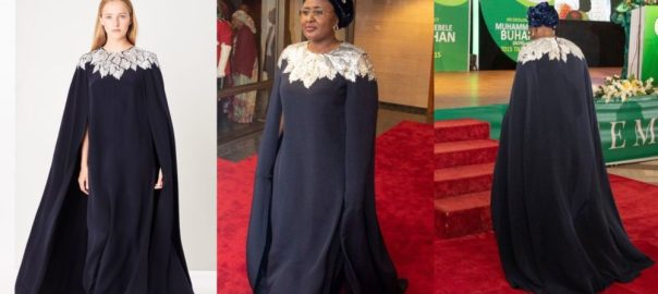 Aisha Buhari Rocked a N1.5million Oscar De Larenta Dress For Democracy Day Dinner