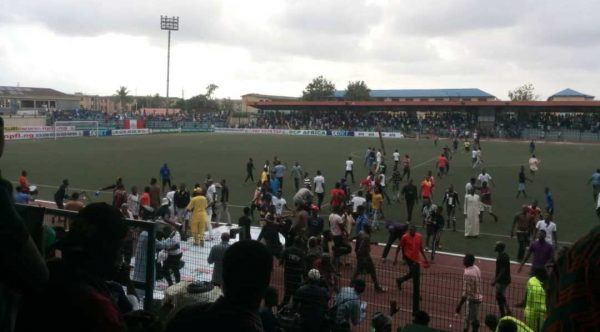 Scene of the mob attack by fans at the Agege Stadium
