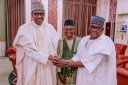 President Muhammadu Buhari Thursday received Kaduna state governor, Nasir El-Rufai and Senators Danjuma Goje, Ahmed Lawan and Uba Sani. The President asked Mr Goje to shelve his ambition for Senate President and instead endorse Mr Lawan [Photo: Sani Tukur]