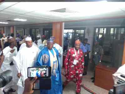 8.51a.m., APC's favoured candidate, Ahmed Lawan, arrives Senate chamber accompanied by some APC senators