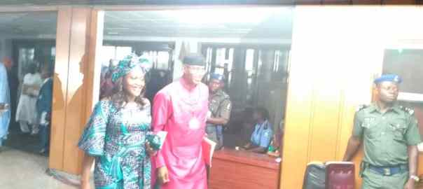 APC's endorsed candidate for Deputy Senate Presidency, Ovie Omo-Agege, arrives in company of wife