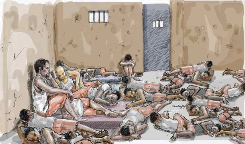 Nightfall came with a feeling a hopelessness for Chris Chom and 61 other prison inmates who only had the option of practically sleeping on each other's bodies for lack of sleeping space