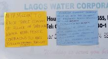 Lagos water corporation staff protesting the mismanagement of their pensions and savings