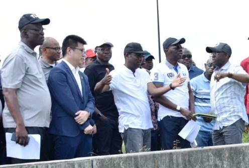 L-R: Permanent Secretary, Ministry of Works and Infrastructure, Engr. Olujimi Hotonu; Business Director, China Civil Engineering Construction Company Nigeria Ltd. (CCECC), Mr. Kevin Liu; Head of Service, Mr. Hakeem Muri-Okunola; Lagos State Deputy Governor, Dr. Obafemi Hamzat; Governor Babajide Sanwo-Olu during the Governor's inspection of the Lagos-Badagry Expressway on Sunday, June 2, 2019.