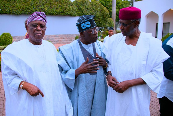 PRESIDENT BUHARI RECEIVES AFENIFERE 10. R-L; Chief of Staff Mallam Abba Kyari, Asiwaju Senator Bola Ahmed Tinunbu and Foremr Governor, Chief Segun Osoba during the Visit of the Afenifere to congratulatio him on his reelection for a 2nd term in office held at the Council Chamber, State House Abuja. PHOTO; SUNDAY AGHAEZE. JUNE 25 2019
