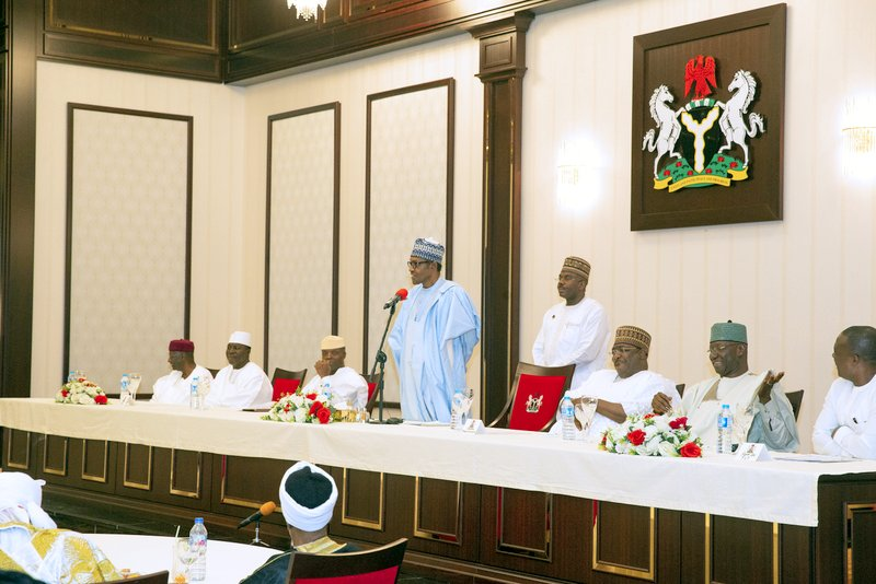 President Muhammadu Buhari addressing guests during the Sallah Homage at the Residence in Abuja. PHOTO; SUNDAY AGHAEZE. JUNE 4 2019