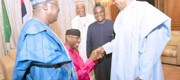 President Muhammadu Buhari receives the newly elected Senate President Senator Lawan Ahmed and Deputy Senate President Senator Ovie Omo-Agege at the Residence State House in Abuja. PHOTO; SUNDAY AGHAEZE. JUNE 11 2019