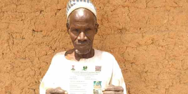 Shuaibu Sani 70-year-old CCT beneficiary at Gidan Tsika community, Kiyawa LGA. Jigawa state.