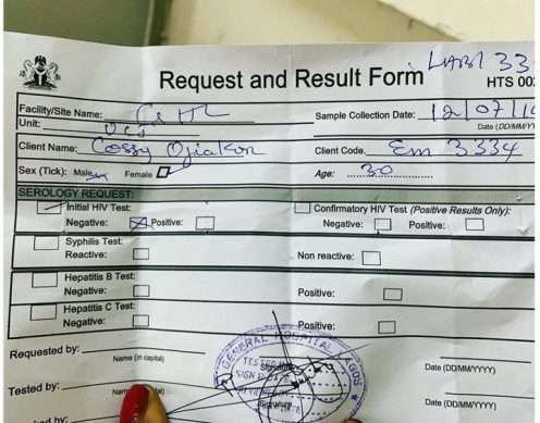 Cossy's HIV result