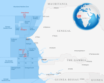 Map of Senegal showing offshore oil deposits used to illustrate the story