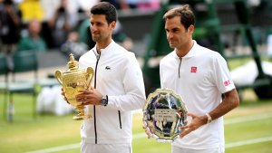 Djokovic and Federer after the match at Wimbledon (Photo Credit: WTP Tour)