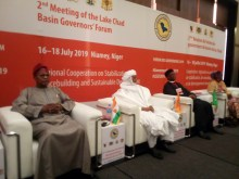 Prime Minister of Republic of Niger, Brigi Rafini, regional leaders and representatives of partnering agencies at the second Lake Chad Basin Governors Forum holding in Niamey. Pix credit: Tosin Omoniyi