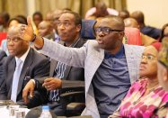R-L: Secretary to the State Government, Mrs. Folashade Jaji; Lagos State Governor, Mr. Babajide Sanwo-Olu; his Deputy, Dr. Obafemi Hamzat and Group Managing Director, Access Bank Plc., Mr. Herbert Wigwe during a Stakeholders meeting on proposed regeneration of the Lekki-Oniru axis at Four Points, Sheraton, Oniru, Victoria Island, on Wednesday, July 10, 2019.