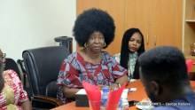 Action Aids' Country Director, Ene Obi speaking at a partnership meeting with Premium Times.