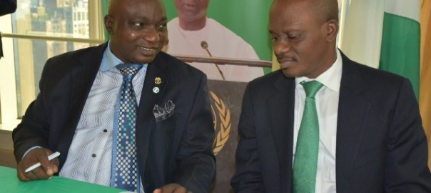 The Consul General of Nigeria in New York, Benayaogha Okonye (right) and the Chairman of the Steering Committee, Bello Kazeem at the event.