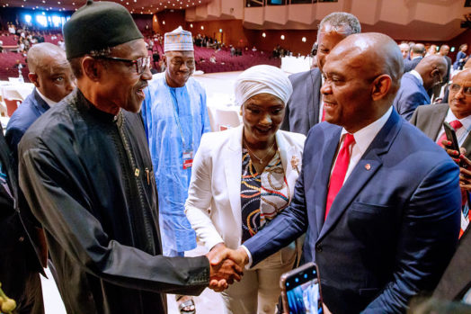 President Buhari with Chairman Heirs Holding Mr Tony Elumelu as he participates at the Plenary Session 3 and delivers Statement at the 7th Tokyo International Conference on African Development in Yokohama Japan on 29th Aug 2019