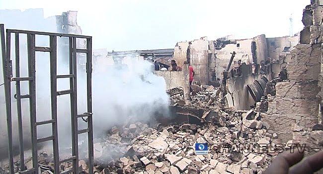 Uwelu Spare Parts Market fire (Photo Credit: Channels TV)