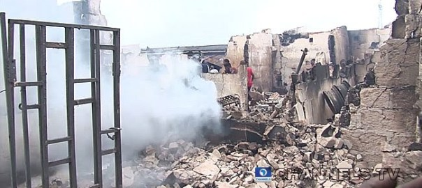 Uwelu Spare Parts Market fire (Photo Credit: Channels TV)