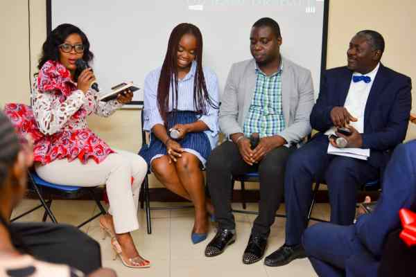 Filmaker and author of 'Catching Grace', Ololade Okedare and the panelists during the book reading session