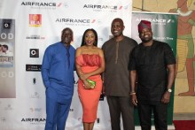 L-R Steve Gukas, Dakore Akande, Ose Oyamendan and Kunle Afolayan at the 2018 edition of Nollywood in Hollywood held at The Eileen Norris Cinema Theatre Complex in Los Angeles