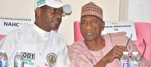 NAHCON's acting chairman, Abdullahi Mukhtar Mohammed (left) with Nigerian ambassador to Saudi Arabia, Justice Muhammadu Isa Dodo (retired) during the post-Arafat briefing Thursday evening.