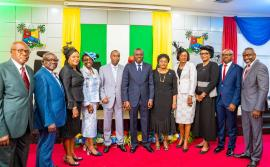Lagos State Governor, Mr. Babajide Sanwo-Olu, flanked by his Deputy, Dr. Obafemi Hamzat (left) and newly appointed Permanent Secretary, Cabinet Office, Mrs. Olorunkemi Durosinmi-Etti (right) and her colleagues during the swearing-in ceremony of nine permanent secretaries at Lagos House, Alausa, Ikeja, on Monday, August 19, 2019.