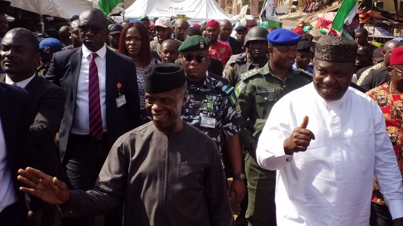 Vice President Yemi Osinbajo and Enugu State Governor, Ifeanyi Ugwuanyi on his visit to the state