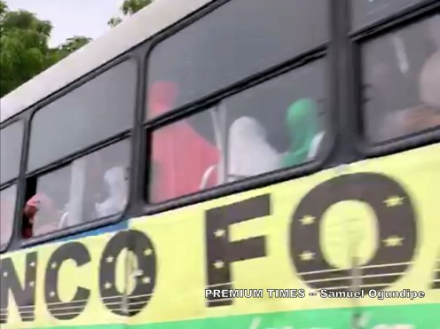 A bus carrying pr-Buhari protesters