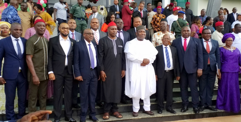 Governor Ifeanyi Ugwuanyi of Enugu State (in white) with the new Commissioners after they were sworn in at the EXCO Chambers, Government House, Enugu, yesterday