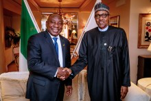 R-L Muhammadu Buhari and Cyril Ramaphosa