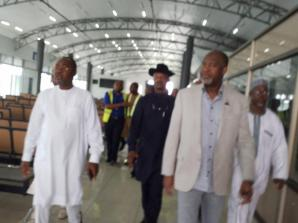 Minister For Aviation, Sen Hadi Sirika [Left], Prof. Slyvester Monye[R], Mr. Charles Aniagwu, Commissioner For Information[ Ib Black] During The Minister's Inspection Visit To Asab Airport.