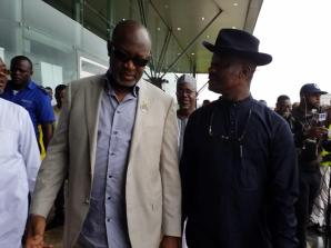 Minister For Aviation, Sen Hadi Sirika And Mr. Charles Aniagwu, Commissioner For Information[ Ib Black] During The Minister's Inspection Visit To Asab Airport.