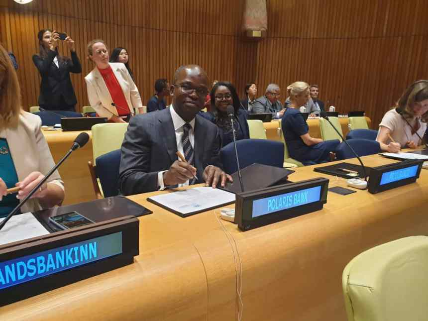 Polaris Bank CEO, Tokunbo Abiru during the symbolic signing ceremony of the UNEP FI Principles for Responsible Banking with other founding members and CEOs in the presence of the United Nation.Secretary General in New York yesterday.