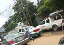 One of the two fully loaded police van stationed opposite civic media lab office where Sahara Reporters is popularly assumed to be domiciled at ikeja GRA