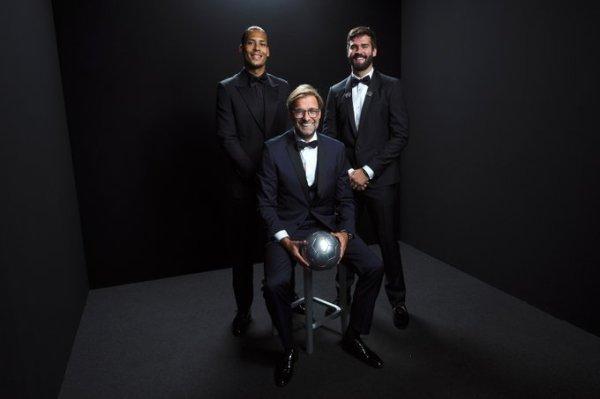 Best Men's Player nominee Virgil van Dijk, Best Men's Goalkeeper nominee Alisson, and Best Men's Coach nominee Jurgen Klopp. Photo credit: Fifa.com