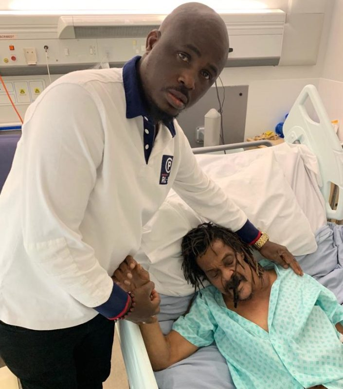 Majek Fashek and his manager , Uzoma Day Omenka, at Queens Elizabeth Hospital London