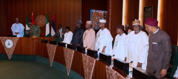 File photo of President Muhammadu Buhari presiding over the FEC Meeting