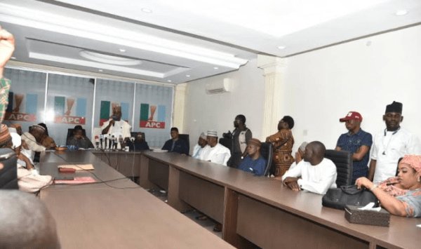 APC headquarters in Abuja during a meeting of the National Working Committee of the party with the governorship aspirants in the state
