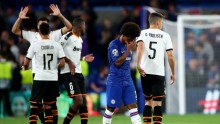 Valencia celebrates after scoring against Chelsea at Stamford Bridge (Photo Credit: Reuters on Google)ro