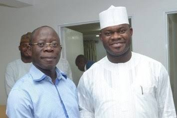 The National Chairman of the APC, Adams Oshiomhole, and Governor Yahaya Bello