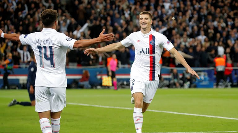 PSG T. Meunier celebrates after scoring against Real Madrid (Photo Credit: Reuters on Google)
