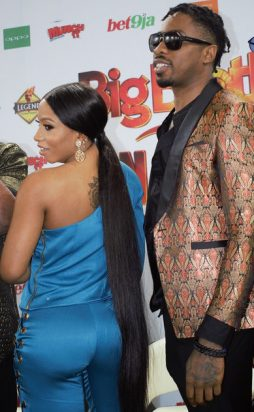 BBNaija season 4 winner, Mercy Eke and love interest, Ike, at a press briefing on Tuesday in Lagos