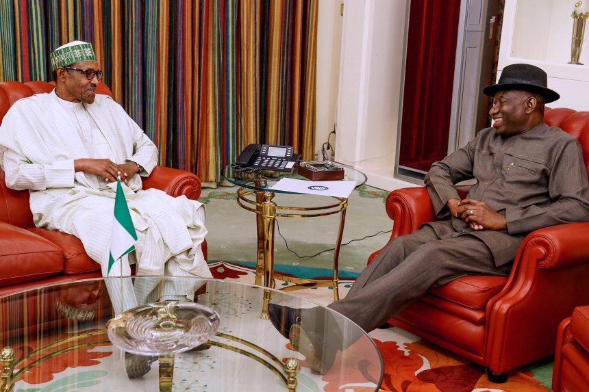 Image result for images of Buhari, Jonathan Meet In Aso Rock