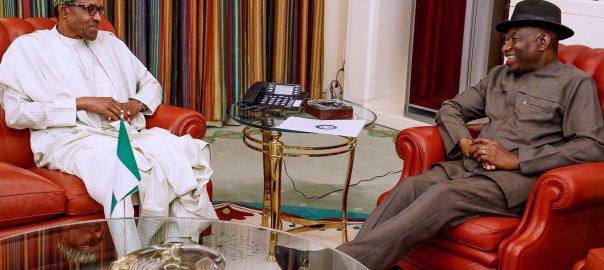 Ex-President Goodluck Jonathan and President Muhammadu Buhari at the Presidential Villa, Abuja