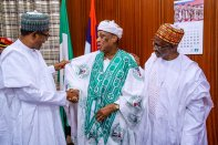 President @MBuhari received in courtesy visit former Ministers who served in his Military Administration between 1984 and 1985 at the State House, Abuja.[PHOTO CREDIT: @DigiCommsNG]